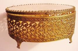 Ormolu Filigree Vintage Jewel Box Case 24K Gold Finish - $59.95
