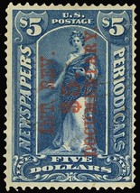 R160, Used $5 Stamp in Blue - F-VF Cat $140.00 - Stuart Katz - $95.00