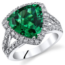 Women's Sterling Silver Trillion Emerald Halo Cocktail Ring - $162.40 CAD