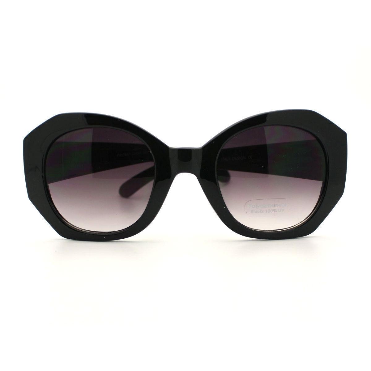Womens Sunglasses Oversized Unique Diamond Cut Frame High Fashion Eyewear