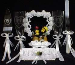 Meant TO BEE Spring Garden Wedding Cake Topper LOT Glasses Server Bubble Funny - $117.81
