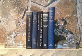 Vtg Instant Library Black Blue 5 Books JFK Kennedy Themed Collection Home Decor