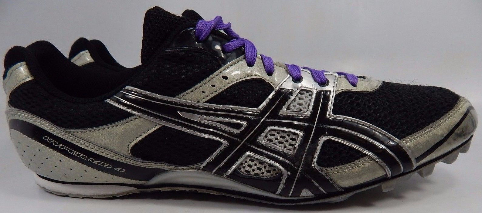 Asics Hyper MD 4 Men's Track Shoes Size US 13 M (D) EU 48 Black/Silver G101N
