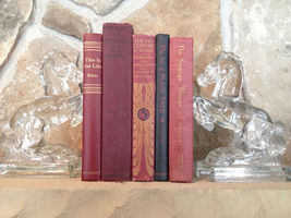 5 Vtg Instant Library Deep Red Black Gold Hardback Books Decorative Set Decor