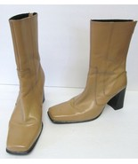 OTT COLOMBIA Boots Leather Hi Chunky Heels w Back Zipper Tan Women's 7 VTG - $27.95