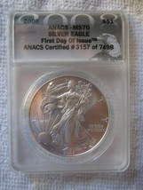 2008 American Silver Eagle ANACS Cert MS-70 First Day of Issue Brilliant... - $73.99