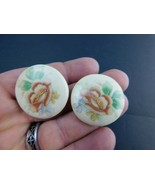 Vintage Earrings Clip On Plastic Button Style With Flowers           @2 - $14.69