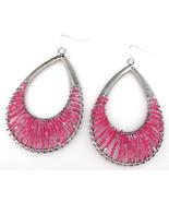 Silver Wire Wrapped Pink Beaded Teardrop Double Hoop Earrings  New - $9.89