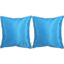 2x Silk Throw Decorative Pillow Cases Cushion Cover for Sofa & Bed SOLID... - $13.99