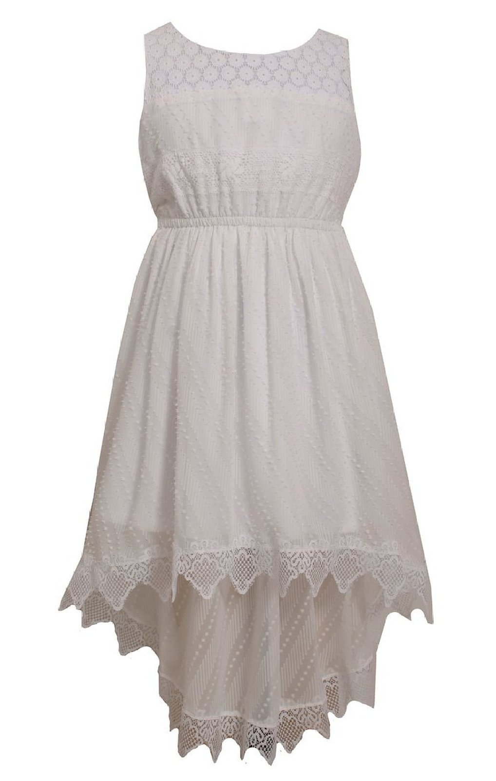 Bonnie Jean Big Girls Plus Size White Lace and Burnout Chiffon High Low Dress