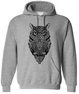 Adult Casual Fashion Graphic Owl Black Hoodie Hooded Sweater 2X-Large Sp... - $26.72