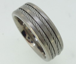 Titanium Ring - rope cable  center - $65.00