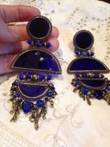 Vintage Long 1960 s Blue Roman Glass Chanelier Clip On Earrings - $154.28