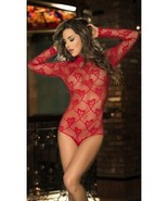 Espiral Red Heart Fishnet Mesh Long Sleeve Teddy Lingerie 8190 - $27.99