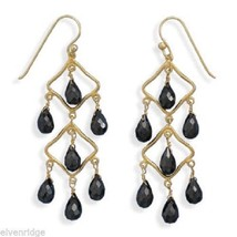 14 Karat Gold Plated Black Spinel Earrings Sterling Silver