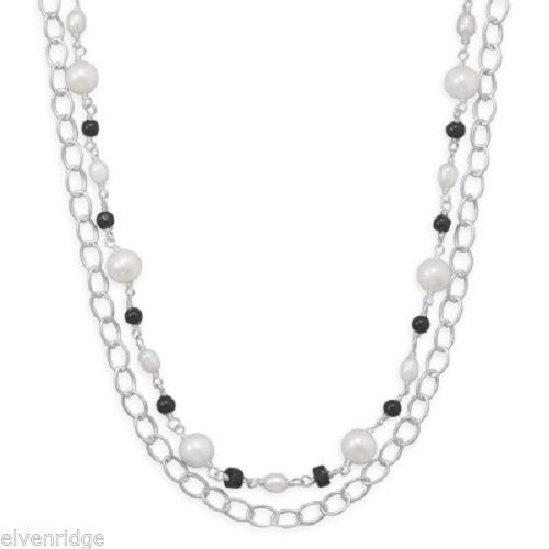 "17"" Multistrand Necklace with Onyx and Cultured Freshwater Pearl Sterling Silver"