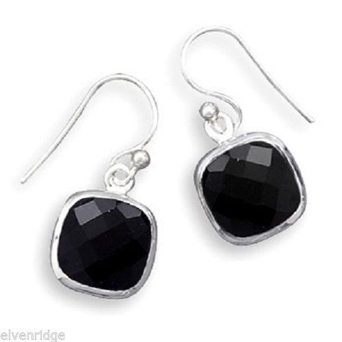 Faceted Black Onyx French Wire Earrings Sterling Silver