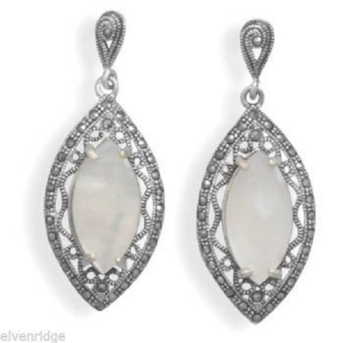 Cut Out Marcasite and White Shell Earrings Sterling Silver
