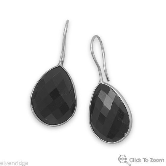 Faceted Black Onyx Earrings Sterling Silver