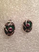 Vintage Filigree Malachite Ruby 92.5% Sterling Silver Stud Earrings - $60.78