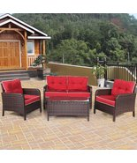 4 Pcs Outdoor Rattan Wicker Loveseat Furniture Set with Cushions - $646.99