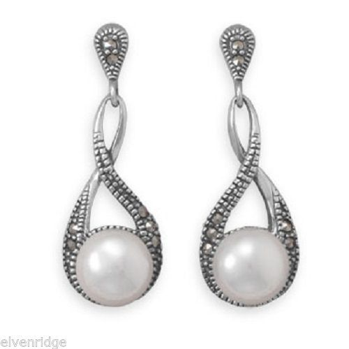 Marcasite and Shell Pearl Drop Earrings Sterling Silver