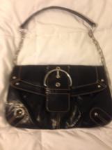 'Merona' black handbag w/Silver Colored Metal C... - $14.99