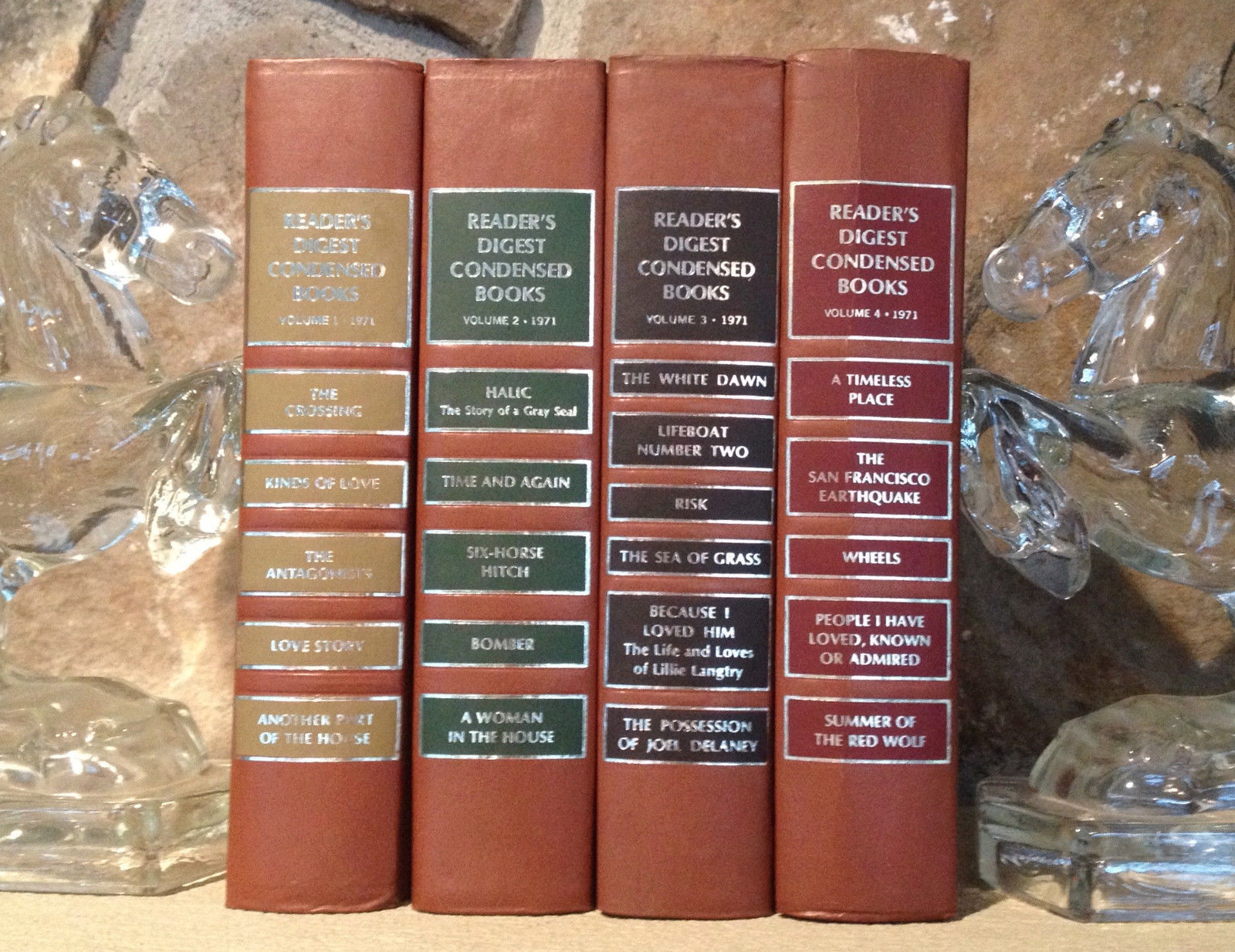 Vtg Instant Library 1971 Readers Digest Condensed 4 Vol Shelf Decor Brown Gilt