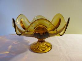 Vintage Large Viking Amber Stemmed Bowl / Compo... - $12.99