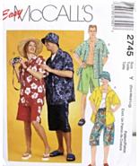 McCall's 2745 Men's Ladies' Teen's Unisex Shirt Shorts Hat Pattern S,M,L  - $10.95