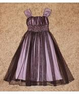 MY MICHELLE GODDESS PURPLE MESH LINED SLEEVELESS DRESS EMPIRE WAIST SEQU... - $19.99