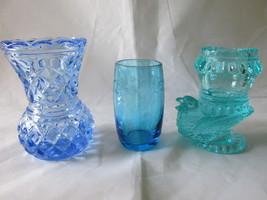 Vintage Blue & Aqua Toothpick Holders, Etched & Pressed Glass, Degenhart... - $9.99