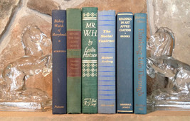 Vtg Decorative 6 Blue & Green with Gilt Hardback Book Set Instant Library Decor