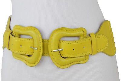 Damen Mode Groß Doppel West Schnallen Elastisch Gelb Gürtel Hüfte Taille M L XL