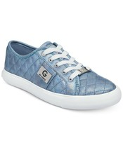 G by Guess Women's Backer2 Lace Up Leather Quilted Pattern Sneakers Shoes Blue