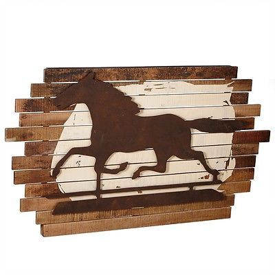 Gorgeous Galloping Horse Large Wall Art,Sculpture,Wood&Iron,52'' x 30''H.