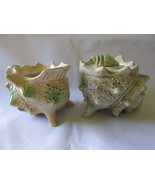 Vintage Shell Shaped Creamer & Lidded Sugar Bowl, Two Legged with Shiny ... - $9.99