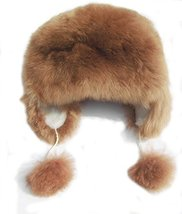Alpakaandmore Womens Alpaca Fur Hat Winter Ski Brown Hat Earflap (X-Large) - $73.26