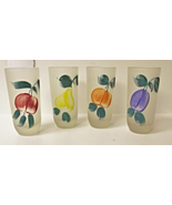 Vintage Frosted Fruit Juice Drinking Glasses Gay Fad Hand Painted Set of 4 - $16.00