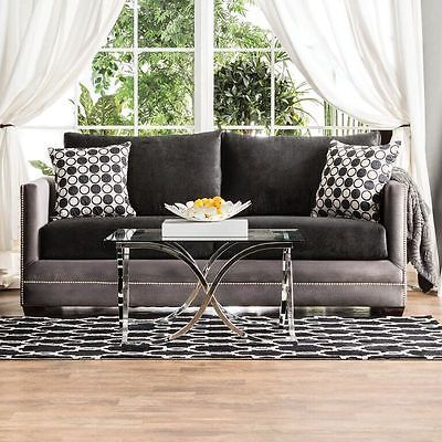 Relly Sofa Black Grey Track Arm Living Room Contemporary Modern