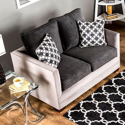 Relly Loveseat Black Grey Track Arm Living Room Contemporary Modern
