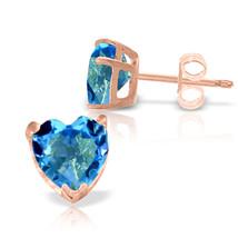 3.25 CTW 14K Solid Rose Gold Divinity Blue Topaz Stud Earrings - $120.55