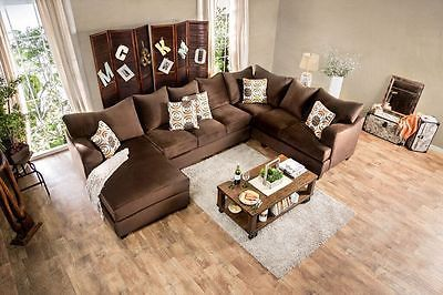 Herman I Sectional Sofa Chocolate Brown Living Room Contemporary Modern Design
