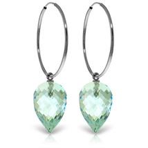 14K Solid White Gold Hoop Earrings with  Pointy Briolette Drop Blue Topaz - $346.19