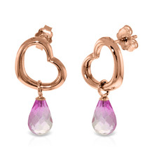 14K Solid Rose Gold Heart Earrings with  Dangling Natural Pink Topaz - $272.15