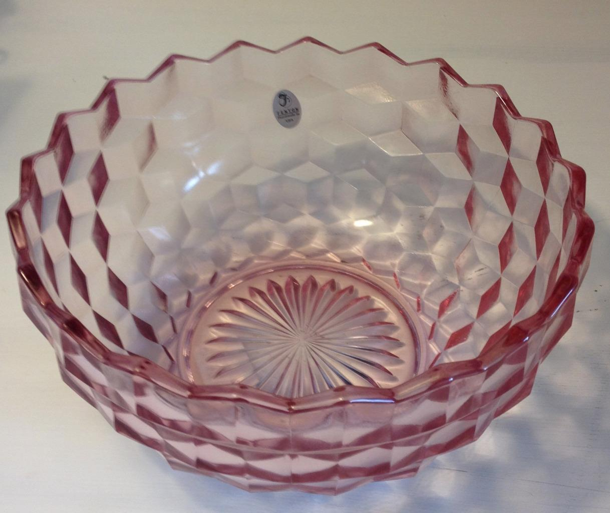 "Fenton American 8"" Pink Bowl Cubist Embossed Mark and Sticker"