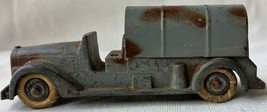 """Viintage Cast Metal Army Truck w/ Cover Made in USA White Rubber Wheels 4 1/4"""""""
