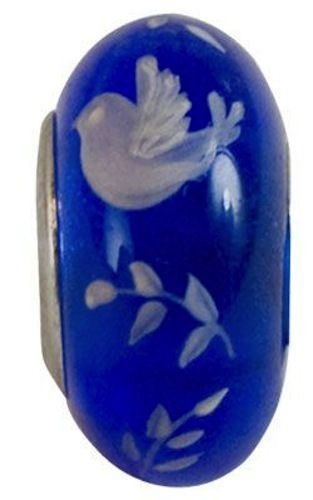 Fenton Art Glass Handpainted Bead Made in USA 9/16  ''Peace on Earth""