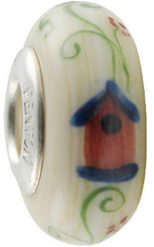 "Fenton Art Glass Handpainted Bead Made in USA ""Song House"" TJ Mendenhall"