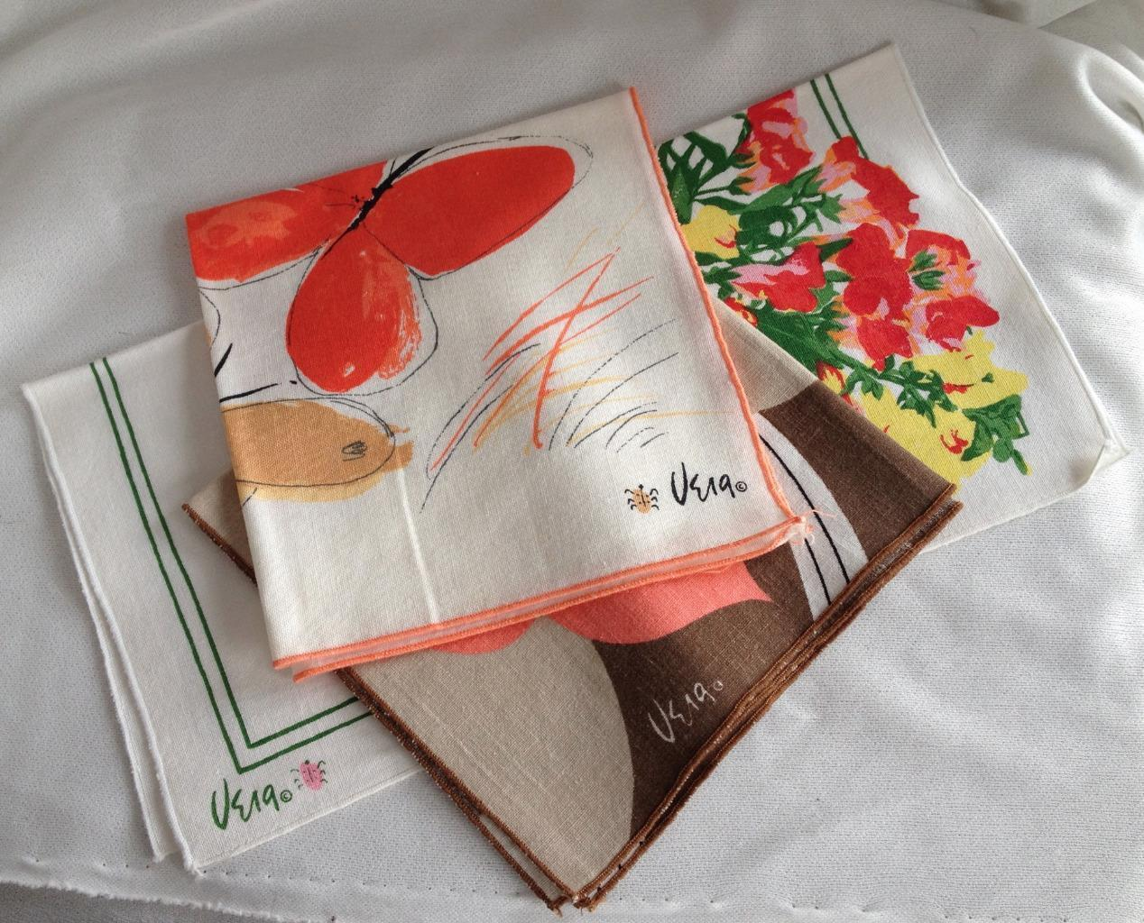 3 Different Vintage Vera Ladybug Logo Napkins Floral Butterfly Unused
